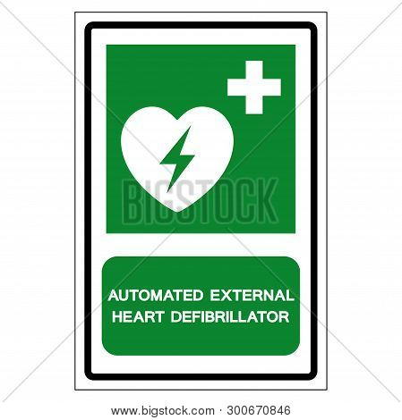 Aed Automated External Defibrillator Symbol Sign, Vector Illustration, Isolate On White Background L