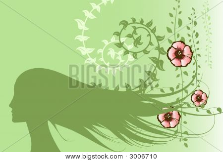 Floral Design With Girl Silhouette