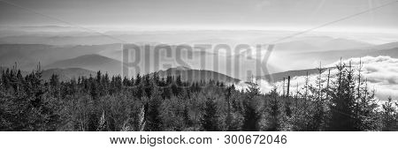 View From Lysa Hora Hill In Autumn Moravskoslezske Beskydy Mountains In Czech Republic With Many Mou