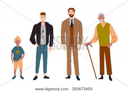 Men. Different Ages.child, Teenager, Adult And Elderly Person. Generation Of People, Family, Male Li