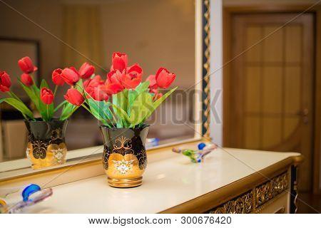 Hotel Room Interior, Hotel Room Bedroom, Hotel Room With Flower, Apartment Room With Flower, Hotel R