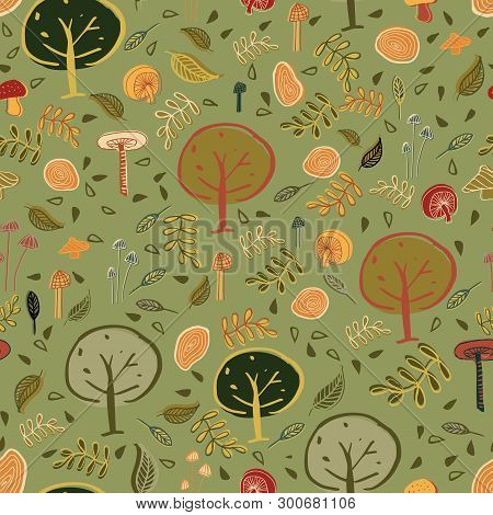 Woodland Forest Seamless Pattern Design. Perfect For Textile Design