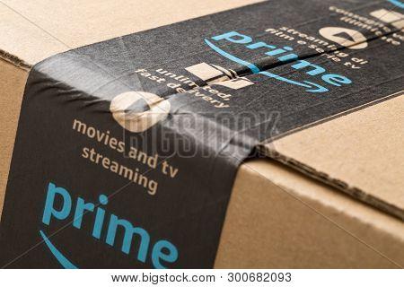 Dresden, Germany - April 3, 2019 : Close Up Of Amazon Prime Logo On Tape Of Delivered Parcel. Prime