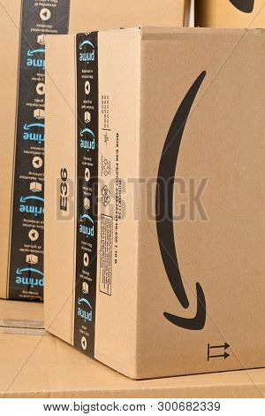 Dresden, Germany - April 3, 2019 : Stack Of Amazon Prime Parcels. Prime Is A Service Offered By Onli