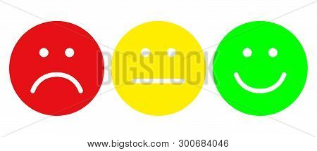 Red, Yellow And Green Smiles. Face Symbols. Flat Style. Vector Illustration.