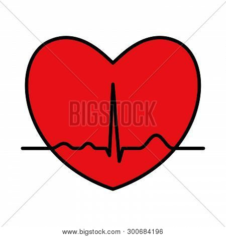 Heart With Ekg Line. Electrocardiography. Medical Design. Vector Illustration.