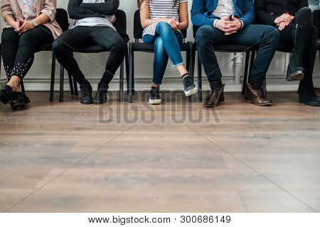 Group of a people waiting for a casting or job interview