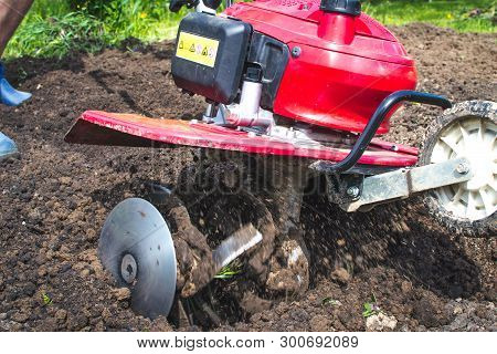 Man Working In The Garden With Garden Tiller