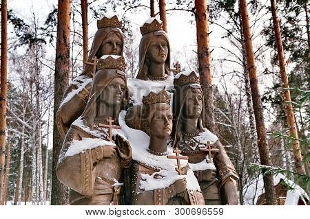 Ganina Yama, Yekaterinburg, Russia-03/01/2019: Monument «royal Children». Here On The Night 17.07.19