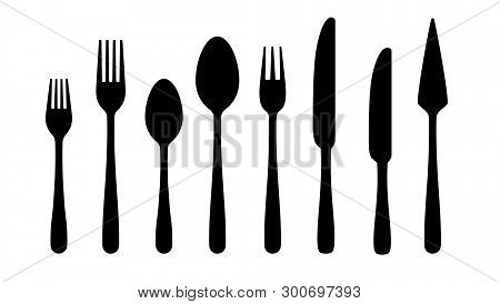 Cutlery Silhouettes. Fork Spoon Knife Black Icons, Silverware Silhouettes On White Background. Vecto