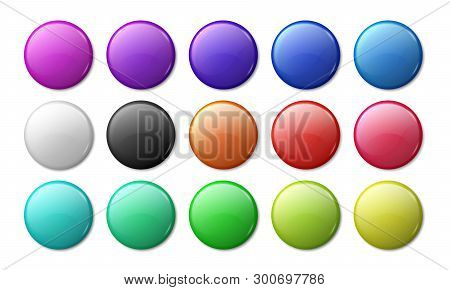 Round Badge Mockup. Circle Magnet 3d Badge, Simple Glossy Plastic Or Metal Labels. Vector Realistic