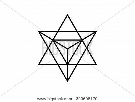 Sacred Geometry. Merkaba Thin Line Geometric Triangle Shape. Esoteric Or Spiritual Symbol. Isolated