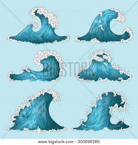 Hand Drawn Sea Wave. Sketch Ocean Storm Waves, Marine Water Splash Isolated Design Elements. Vector
