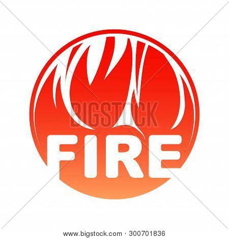 Round Fire Logo, Red Circle Flaming Design With Text.