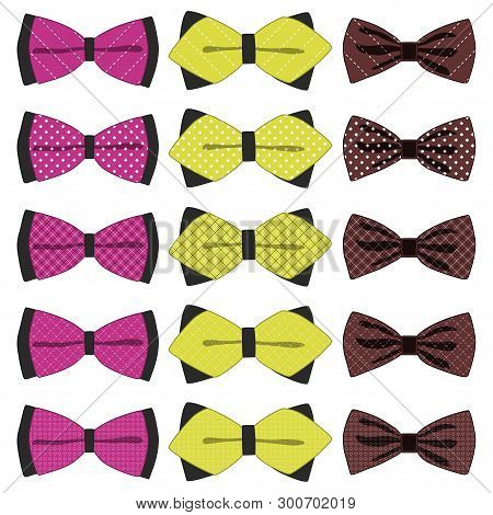 Illustration On Theme Big Colored Set Ribbon Different Types, Bow Tie Various Size. Ribbon Pattern C