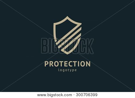 Shield Icon. Vector Flat Style Illustration Abstract Business Security Agency Logo Template. Logo Co