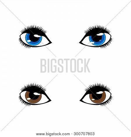 Set Of Eye Vector Flat, Eye Vector On White Background. Eyes Art. Woman Eye. The Eye Logo. Eyes Art.