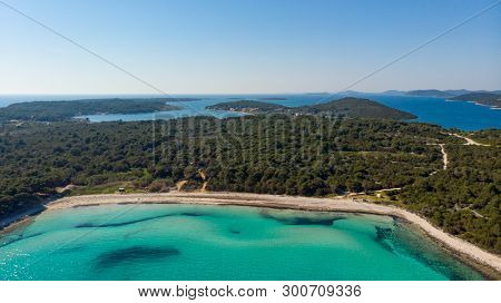 Spectacular Aerial Sea Landscape Of Sandy Coast And Crystal Clear Water.