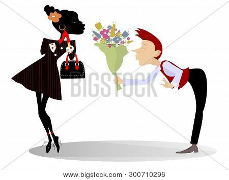 Love Between African Woman And Caucasian Man Isolated Illustration. Caucasian Man In Love With An Af