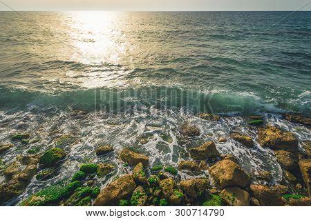 Coast In The Mediterranean Sea, Tel Aviv, Israel.