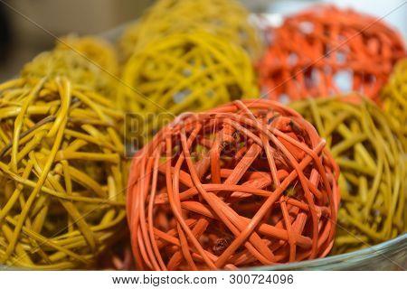 Colored Wickerwork In The Form Of Decorative Wicker Balls - Closeup