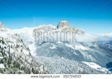 View Of Mountains Above Clouds In Alta Badia, Italy