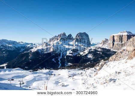 View Of Col Rodella Sasso Piatto And Sassolungo, Canazei, Italy