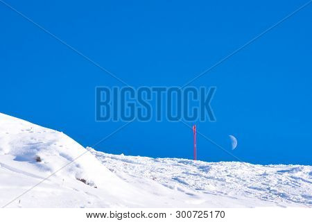 The Moon Above A Ski Slope, Canazei, Italy