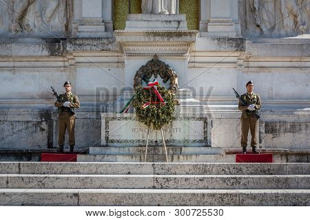 Rome, Italy - April 20, 2015: Closeup Front View Of Two Soldiers Guarding The Unknown Soldiers Tomb