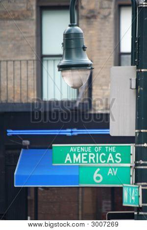New York Street 6Th Avenue And Street Lamp