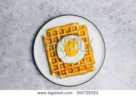 Savory Waffles And Fried Eggs - Delicious Healthy Breakfast On Light Gray Background, Top View