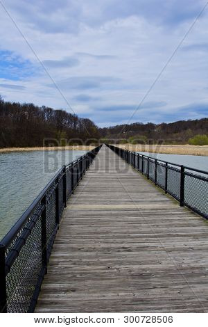 A Board Walk Across A Marshy Section Of The Genesee River In Rochester, New York