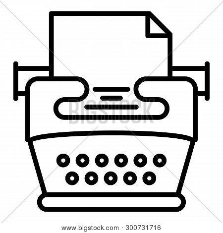 Nostalgia Typewriter Icon. Outline Nostalgia Typewriter Vector Icon For Web Design Isolated On White