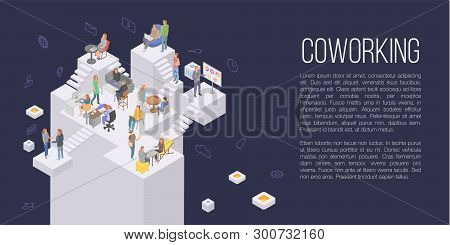 Coworking Office Concept Background. Isometric Illustration Of Coworking Office Vector Concept Backg