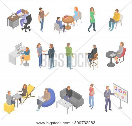 Coworking Office Business Icons Set. Isometric Set Of Coworking Office Business Vector Icons For Web