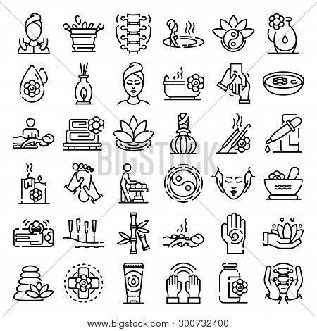 Massage Icons Set. Outline Set Of Massage Vector Icons For Web Design Isolated On White Background