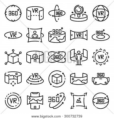 360 Degrees Icons Set. Outline Set Of 360 Degrees Vector Icons For Web Design Isolated On White Back
