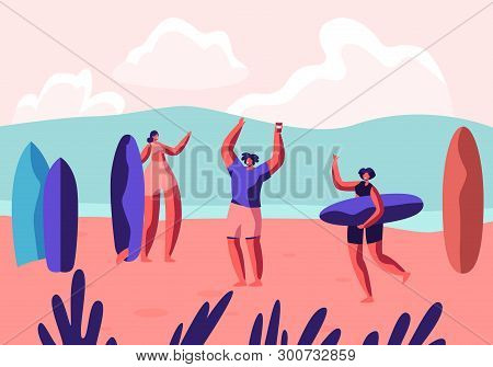 Surf Party On Exotic Seaside Resort. Male And Female Sportsmen With Boards Relax On Sandy Beach. Sum
