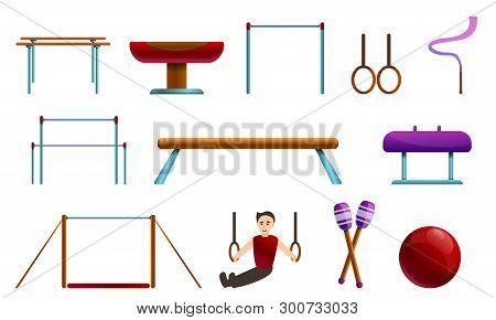 Gymnastics Equipment Icons Set. Cartoon Set Of Gymnastics Equipment Vector Icons For Web Design