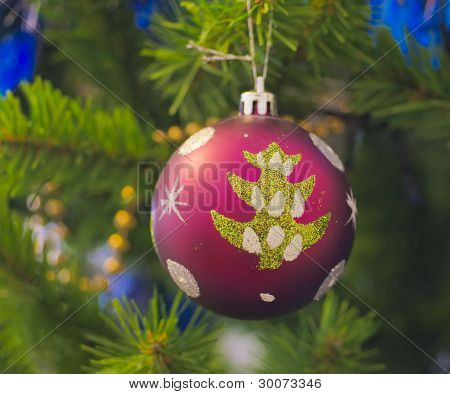 The Christmas-tree Decoration In The Form Of Purpur Ball.
