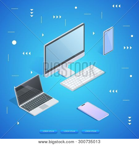 Personnel Computer, Laptop, Tablet And Smartphone On Blue Neon Glowing Gradient Background. Abstract