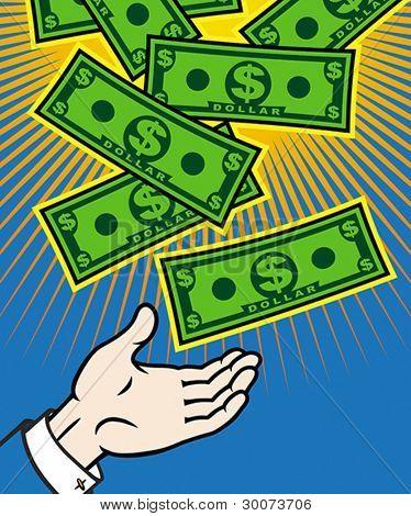 Money (dollar banknotes) falling from heaven. Vector format EPS 8, CMYK.