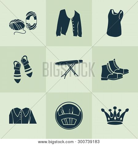Fashionable Icons Set With Puritan Collar, Ironing Board, Skein Of Yarn And Other Wool Elements. Iso