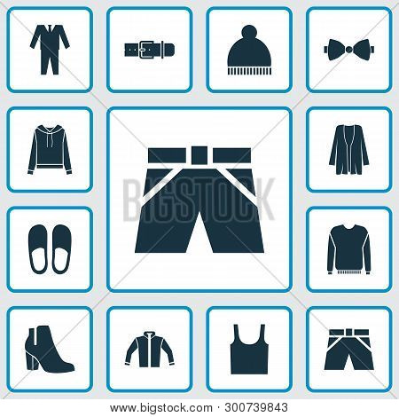 Clothes Icons Set With Jacket, Shorts, Pullover And Other Pullover Elements. Isolated Vector Illustr