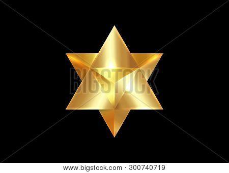 Sacred Geometry. 3d Gold Merkaba Thin Line Geometric Triangle Shape. Esoteric Or Spiritual Symbol. I