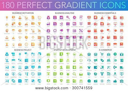 180 Vector Trendy Perfect Gradient Icons Set Of Business Motivation, Analysis, Business Essentials,