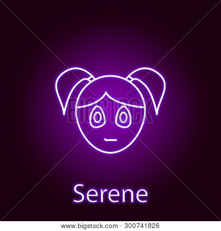 Serene Girl Face Icon In Neon Style. Element Of Emotions For Mobile Concept And Web Apps Illustratio