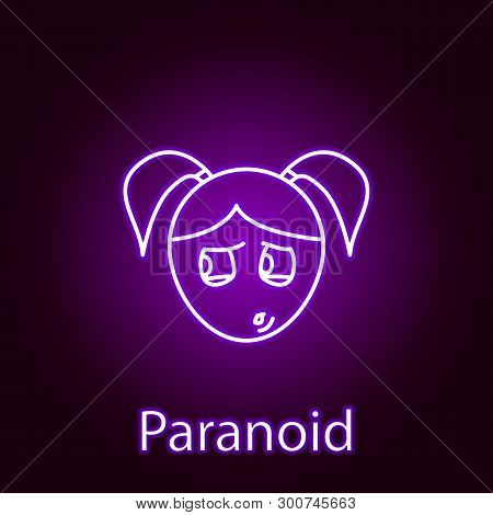 Paranoid Girl Face Icon In Neon Style. Element Of Emotions For Mobile Concept And Web Apps Illustrat
