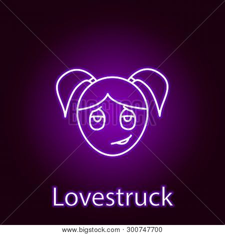 Love Struck Girl Face Icon In Neon Style. Element Of Emotions For Mobile Concept And Web Apps Illust