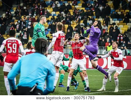 Kyiv, Ukraine - November 29, 2018: Fc Vorskla Poltava (in Green) And Arsenal Players Fight For A Bal